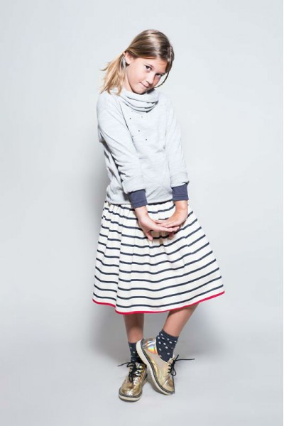 VIDA SKIRT daVida's kid girl cotton skirt with white & black stripes
